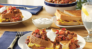 Bacon Grilled Cheese Sandwiches smothered with Bacon Sloppy Joe