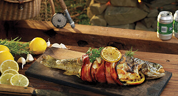 Bacon Wrapped Cedar Planked Trout