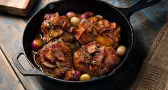 Bacon and Ale Skillet Braised Chicken Thighs