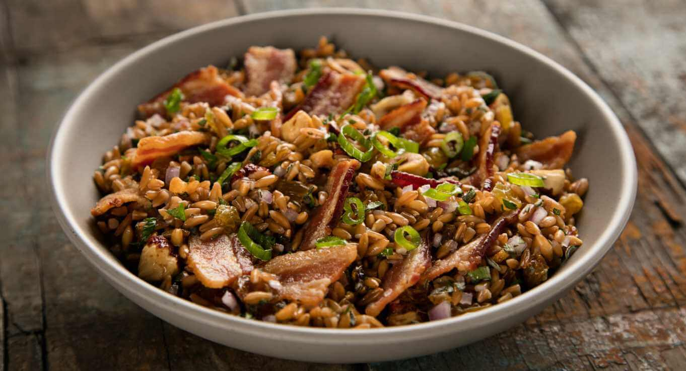 Bacon Hazelnut Farro Salad with Bourbon Bacon Vinaigrette