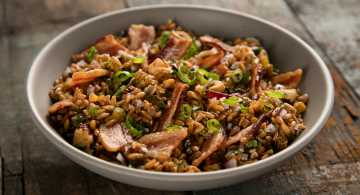 Bacon Hazelnut Farro Salad with Bourbon-Bacon Vinaigrette